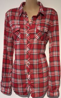 PASSPORT RED CHECKED CASUAL SHIRT TOP NEW SIZE M 12